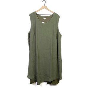 J. Jill Textured Caper Olive Green Gauze Dress 4X